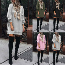 Women Long Sleeve Casual Sweatshirt Shirt Dress Oversize Mini Plus Tops