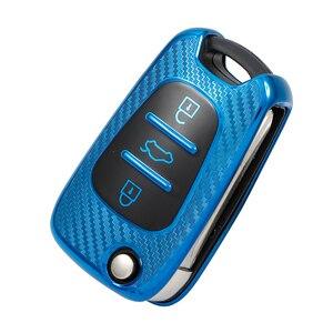 TPU Carbon fiber Car Key Case Cover For Hyundai i30 i40 IX25 Creta IX35 HB20 Solaris Elantra Accent For Kia K2 K5 Rio Sportage