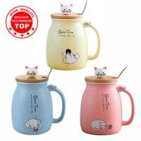 Caneca criativa do gato da cor resistente ao calor dos desenhos animados com tampa 450ml copo gatinho café canecas cerâmicas crianças copo escritório drinkware presente|Can.| |  -