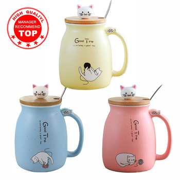 Creative color cat heat-resistant Mug cartoon with lid 450ml cup kitten coffee ceramic mugs children cup office Drinkware gift