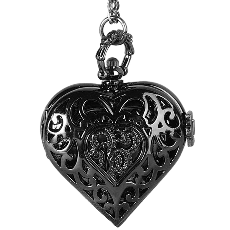No Drill Collar Hollow Heart Heart Flower Pocket Watch Black Japanese And Korean Couple Sweater Necklace Love Pocket Watch