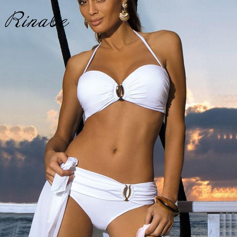 Sexy Bikini Push Up Solid Swimsuit Female Bikinis String Bathing Suit Women Swimwear Bandaeu V Neck Biquini 2020 Bikini Set