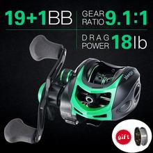MEEGO  19+1BB 9.1:1 8kg baitcasting Fishing reels Carretilha de pesca Abu garcia low profile reel bait casting Fishing reel