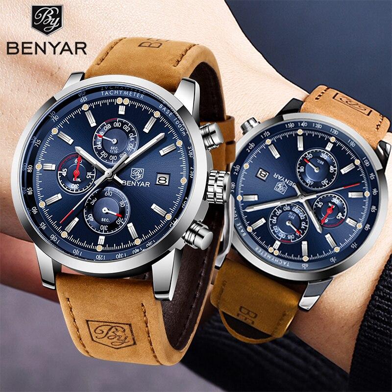2020 New Quartz Men's Watches BENYAR Top Brand Luxury Sport Wristwatch Men Waterproof Chronograph Military Clock Reloj Hombres