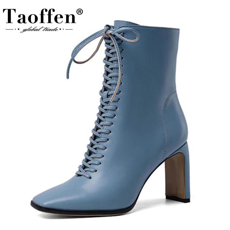 TAOFFEN Winter Shoes Ankle-Boots Cross-Strap High-Heel Zipper Fashion Women Lady 34-43