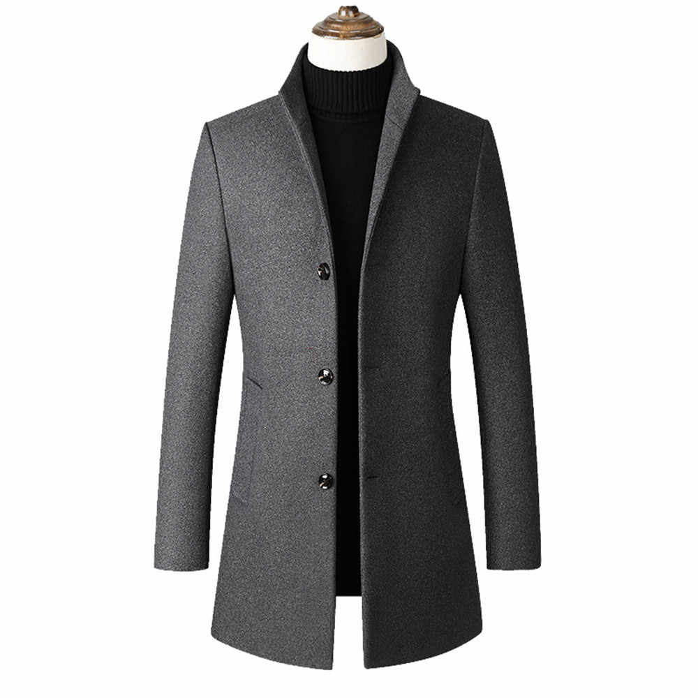 2019 패션 남성용 중형 트렌치 코트 울 재킷 남성 비즈니스 캐주얼 슬림 피트 솔리드 컬러 칼라 울 코트 M-4XL