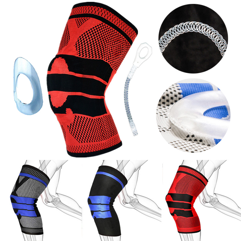 SALE 1pc 3D Patella Knee Protector Brace Silicone Spring Knee Pad Basketball Compression Elastic Knee Sleeve Support Sports