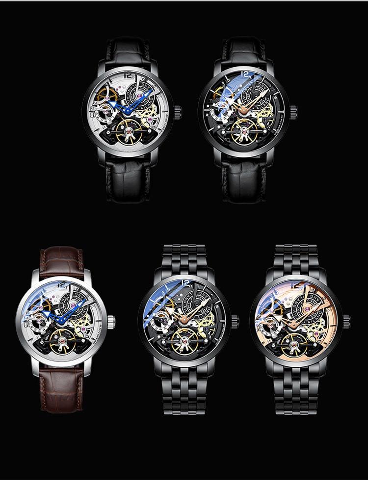 H36748b733c91432f92ae8f557a2ab3fcX AILANG Original design watch automatic tourbillon wrist watches men montre homme mechanical Leather pilot diver Skeleton 2019
