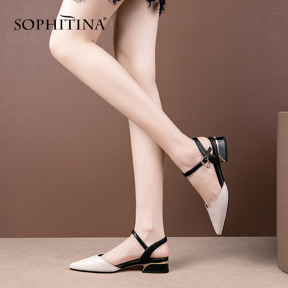 SOPHITINA Pointed Toe Sandals Women Fashion Mixed Colors High Quality Cow Leather Buckle Strap Shoes Elegant Basic Sandals SO455