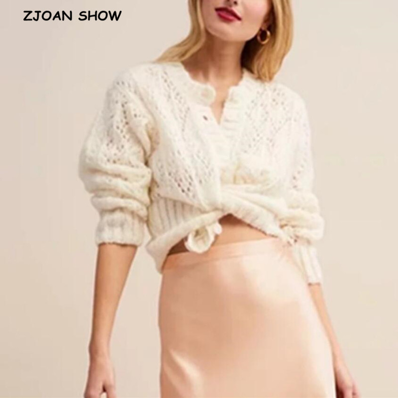 2019 Women Knitted Hollow Out Flower Hole Single-breasted Button Cardigan Mohair Sweater Retro Knitwear Long Sleeve Jumper Tops