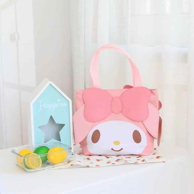 Hello kitty moja melodia Cinnamoroll PomPomPurin badbadtz-maru Tote torba na zakupy Cartoon Student torba obiadowa dla dzieci