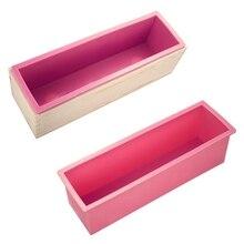 3 шт., прямоугольное мыло, набор форм, сделай сам, форма для тостов, силиконовая розовая коробка+ деревянная коробка, инструмент для выпечки(1,2 кг Объем мыла