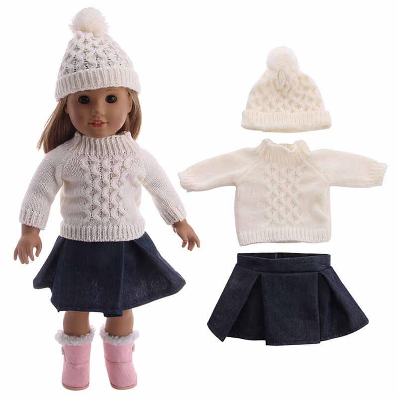 18 インチアメリカの女性人形帽子セータージーンズシャツプリーツスカートドレス 3 43 センチメートルための適切なセット子供ベビー人形ベストギフト