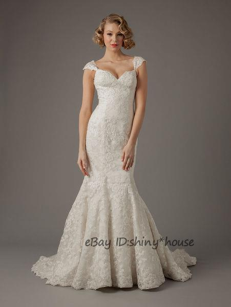 Free Shipping 2016 New Fashion Vestido De Noiva Long Casamento Elegant Sexy Cap Sleeve Mermaid Lace Wedding Dress Bridal Gowns