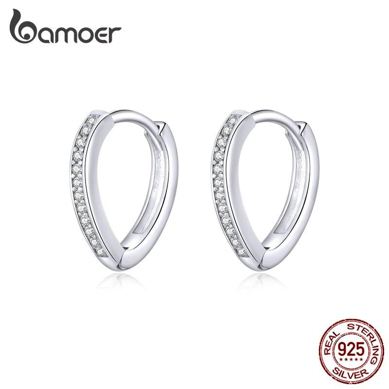 Bamoer 100% Real 925 Sterling Silver Heart Ear Hoops Earrings For Women Engagement Statement Jewelry 2020 Oorbellen SCE868