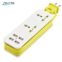Portable1/2 Outlet Travel listwa zasilająca Adapter ochronnik przeciwprzepięciowy 4 inteligentne porty USB pulpit ścienny stacja ładująca 5ft przedłużacz