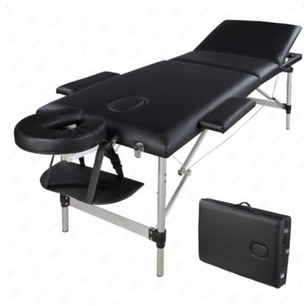 3 bölüm katlanır SPA yüz vücut geliştirme masaj masa seti taşınabilir alüminyum tüp güzellik salonu dövme yatak muayene masası title=