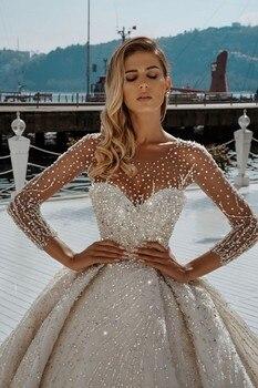 Luxury Beading Ball Gown Wedding Dresses 2021 Illusion O Neck Long Sleeve Sequins Arabic Dubai Bridal Gowns Mairee Handmade