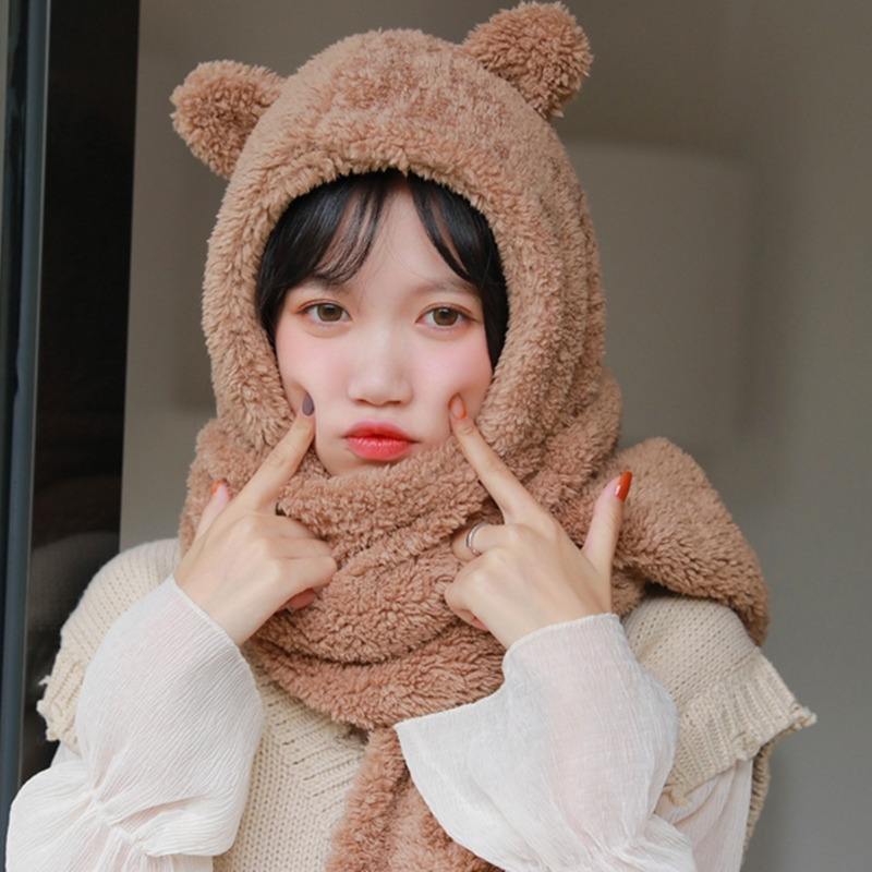 Women Shawl Winter Cute Bear Hat Scarf Thick Fashion Plush Warm Scarf Girls Bear Hat Scarf Thick Fashion