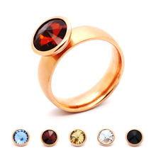 2016 New Ring Jewelry Rose Gold Stainless Steel 5 Colors Changeable Mood Rings Free Shipping