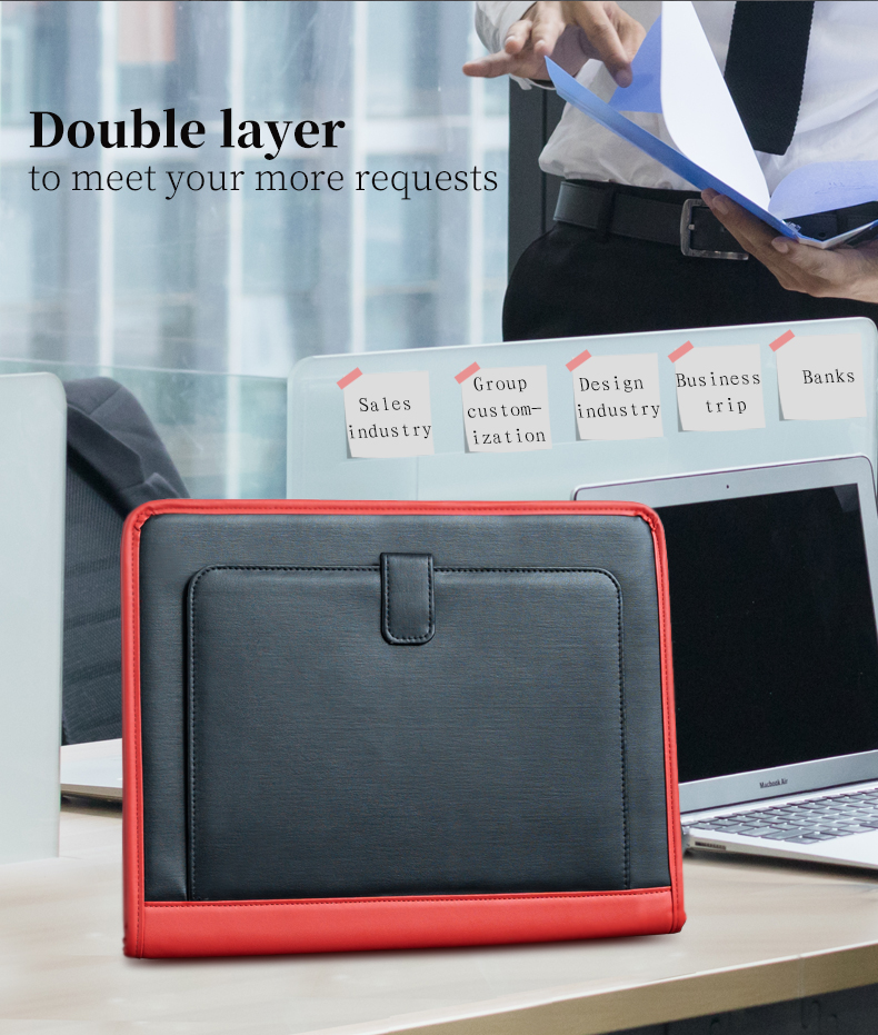 Business Padfolio Portfolio Ring Binder A4  Clip Board PU Leather Document Organizer Business Conference File Folder Manager