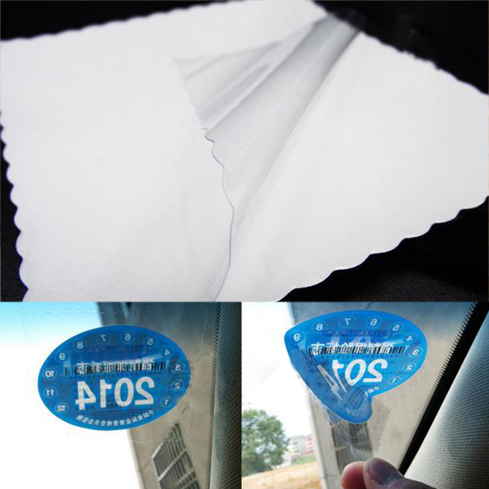 Hot <font><b>1Car</b></font> Clear Electrostatic Paste Film Non-<font><b>Sticker</b></font> Windshield Patch For Inspection License Pass Permit Payment Proof image