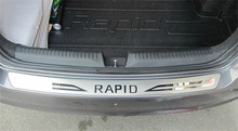 Akcesoria samochodowe tylny zderzak ze stali nierdzewnej nakładka ochronna na krawędź bagażnika płyta bieżnika tapicerka do 2013  2018 Skoda Rapid Car styling