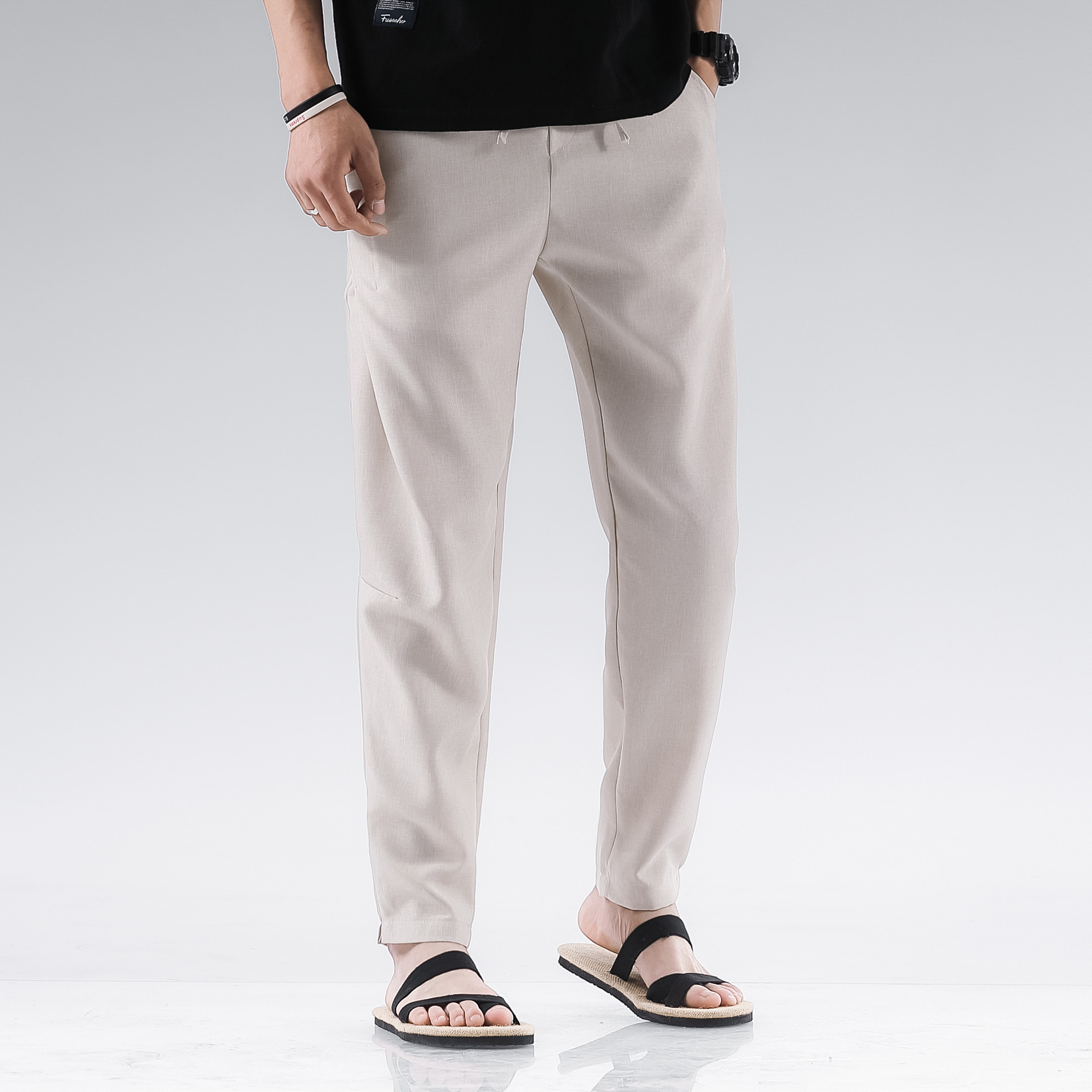 Linen Pants Men's Summer Solid Color Casual Pants Large Size Harem Pants Trend Chinese-style Loose Straight Cotton Linen Long Pa