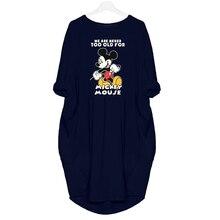 2019 Fashion Women Dress Mickey Cartoon Print Plus Size Dresses Casual Clothing Fall Thin Loose Woman Party Night