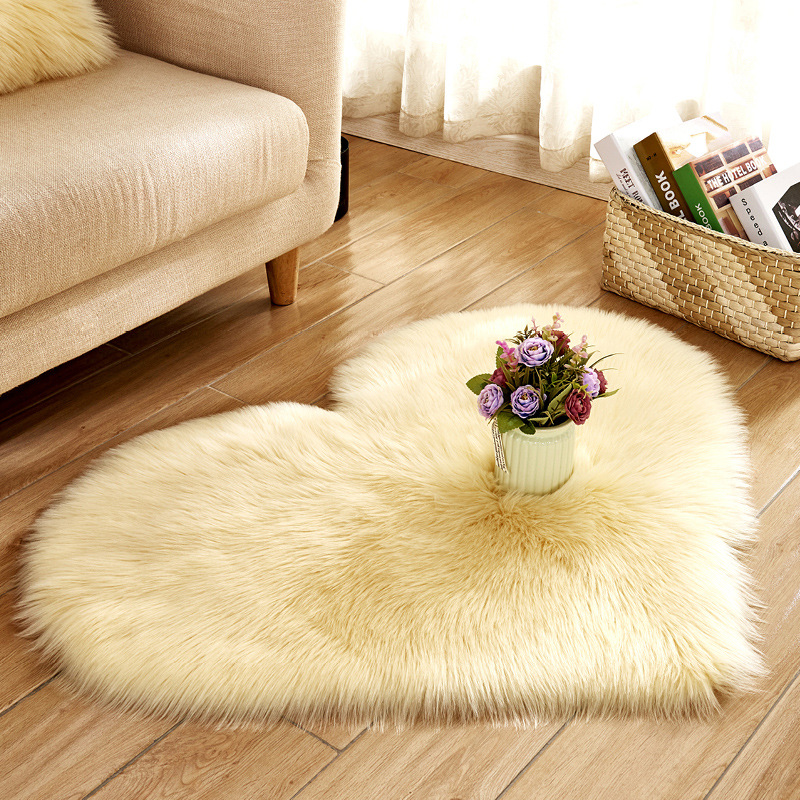 Love Heart Plush Blanket Faux Fur Imitation Wool Rug Floor Area Mat Artificial Sheepskin Shaggy Carpets For Living Room Bedroom