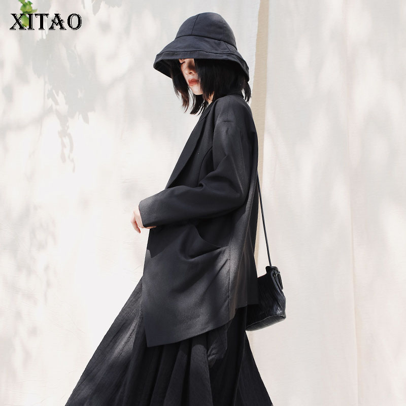 XITAO Vintage Women Blazers And Jackets Fashion Black  A Buckle  Clothes Women Spring New Tops Women Blazer Feminino DMY3195