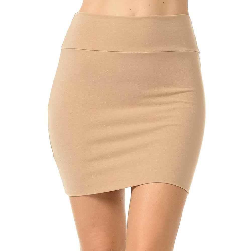 2019 nowa modna spódnica kobiety spódnice damskie jednolity wysoki stan klasyczny prosty rozciągliwy Tube ołówkowa spódnica mini Faldas mujer moda