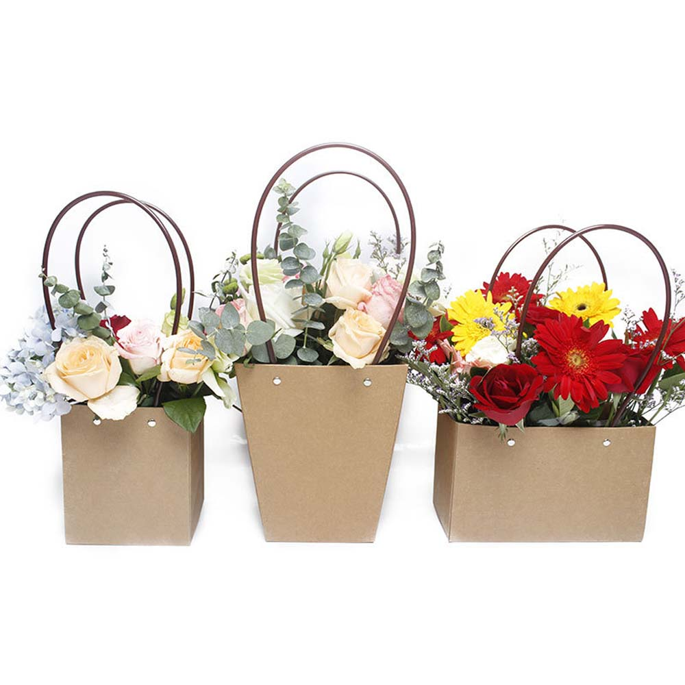 Paper Bags Flower Box  with Handle  Waterproof Bouquet Florist Gift Packing Box.