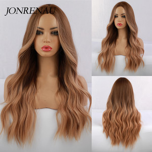 Image 1 - JONRENAU סינטטי Ombre חום כדי זהב בלונד פאה ארוך טבעי שיער פאות עבור לבן/שחור נשים מסיבת או יומי ללבוש