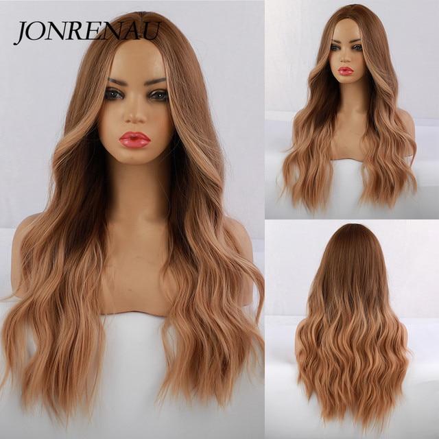 JONRENAU סינטטי Ombre חום כדי זהב בלונד פאה ארוך טבעי שיער פאות עבור לבן/שחור נשים מסיבת או יומי ללבוש