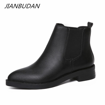 JIANBUDAN Pointed Toe Fashion women's boots Autumn comfort Flat heel Chelsea boots winter Plush women Elastic band Ankle boots beautoday chelsea boots women cow suede pointed toe chunky heel elastic ladies ankle boots handmade a03324