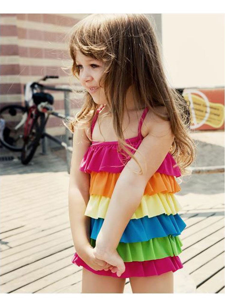 CHILDREN'S Swimsuit New Products Rainbow-colored Five-Tier Flounced GIRL'S Swimsuit Beach Hot Springs Snorkeling Suit