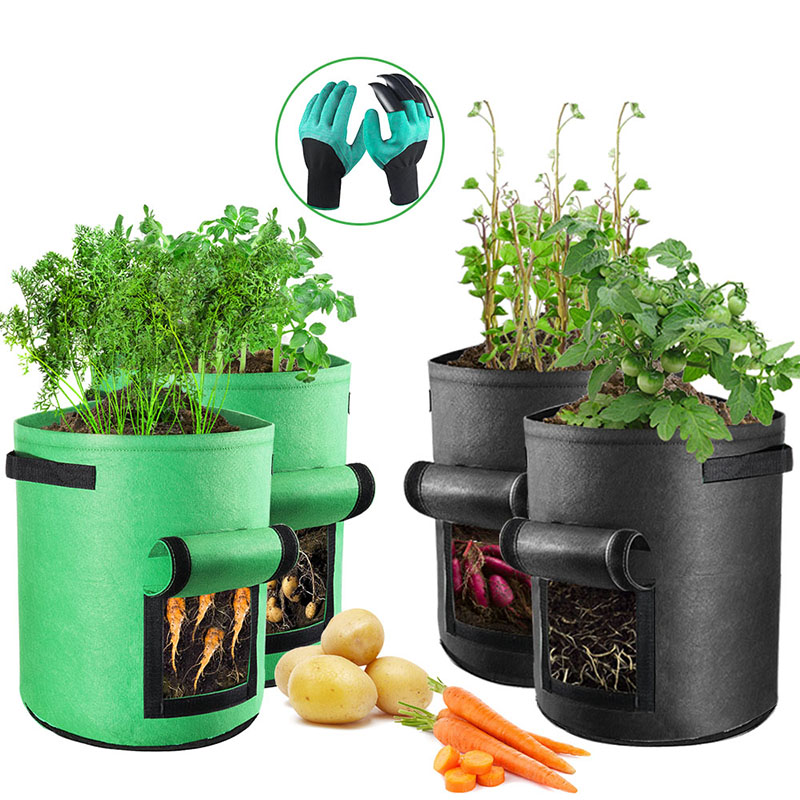 Potato Cultivation Planting Woven Fabric Bags Garden Pots Planters With Claw Vegetable Planting Bags Grow Bag Farm Garden Tool
