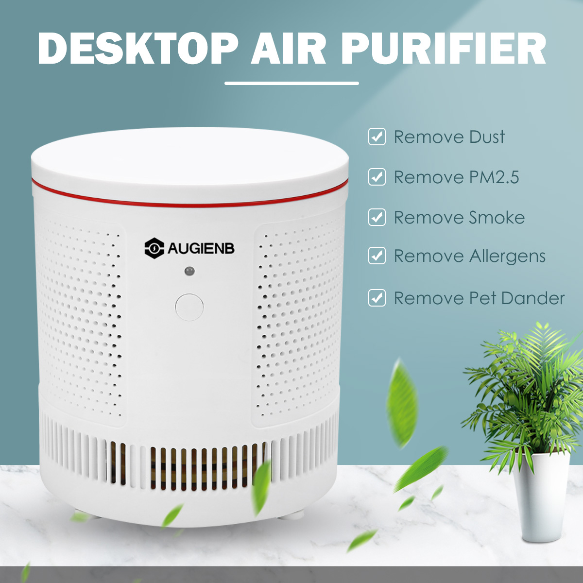AUGIENB Air Purifier For Home True HEPA Filters Compact Desktop Purifiers Filtration Remove Formaldehyde Odor Smog  PM2.5 Anti