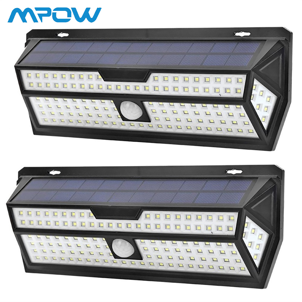 Mpow 132 LED Solar Garden Lights 1810LM PIR Motion Sensor Lamp Outdoor Emergency Security Light IP65 Waterproof Solar Wall Lamp