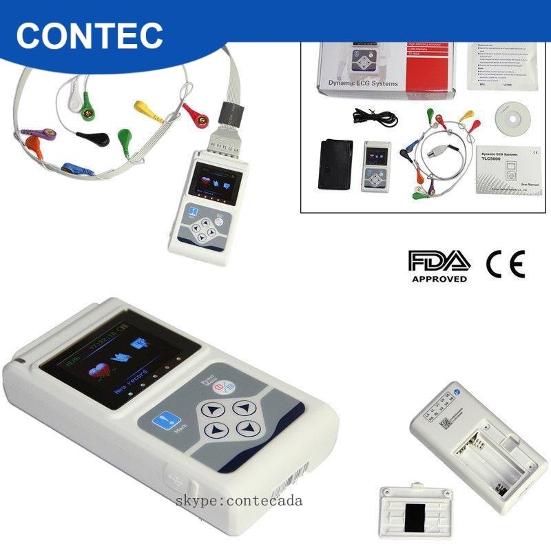 2018 mais novo tlc5000 12 canais ecg/ekg holter sistema gravador monitor software fda