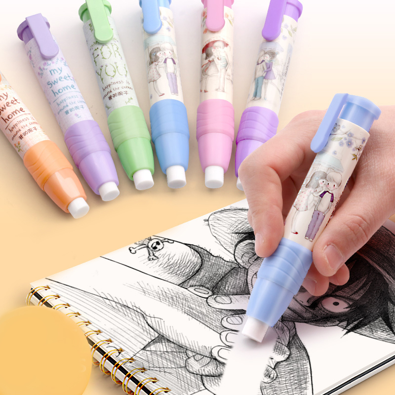1pc Automatic Pen Type Push Eraser Creativity Eraser Pencil School Supplies Painting Office Supplies Study Stationery Kawaii