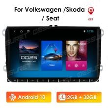 2G + 32G 2Din Android10รถวิทยุสเตอริโอเครื่องเล่นมัลติมีเดีย GPS สำหรับ VW Volkswagen Golf Polo Skoda Rapid octavia Tiguan Passat B7 BT