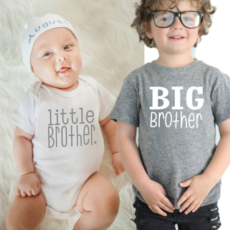 1PCS Family Matching Baby Little Big Brother Short Sleeve Letters Rompers Bodysuit Outfits T-shirts Tops Kids Boys Clothing Tees