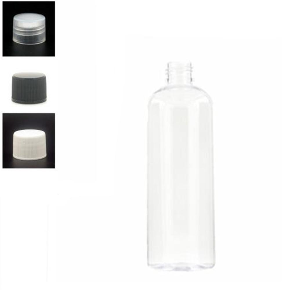 300ml Plastic Non-Dispensing Cap Bottles, Empty Clear PET Bottle With Black/wite/transparent Ribbed Screw Cap