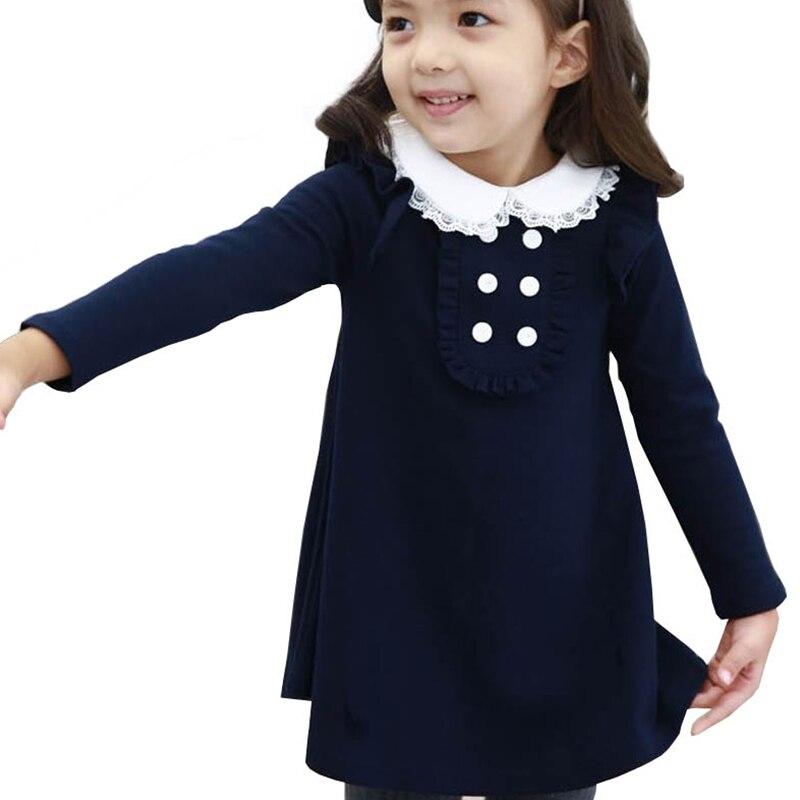 2019 neue herbst winter baumwolle baby mädchen koreanische kleidung puppe kragen langarm mode mädchen A-line mini kleid warme kinder kleidung