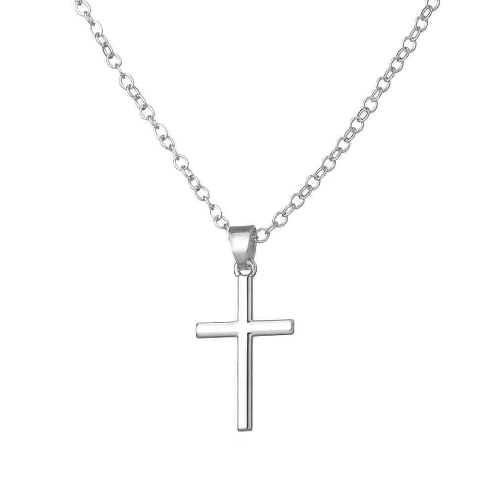 Baru Kedatangan Cross Liontin Kalung Collier Femme Emas Warna Perak Cross Kalung Kalung Kerah Perhiasan XL226
