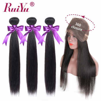 360 Lace Frontal With Bundle Peruvian Straight Hair Bundles With Frontal 3 Bundles with 360 Frontal RUIYU Remy Human Hair - DISCOUNT ITEM  47% OFF All Category