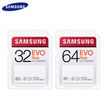 Original SAMSUNG EVO Plus SD Card 32GB 64GB U1 128GB 256GB U3 Max 100MB/s Reading Flash Memory Card SDHC SDXC For Camera