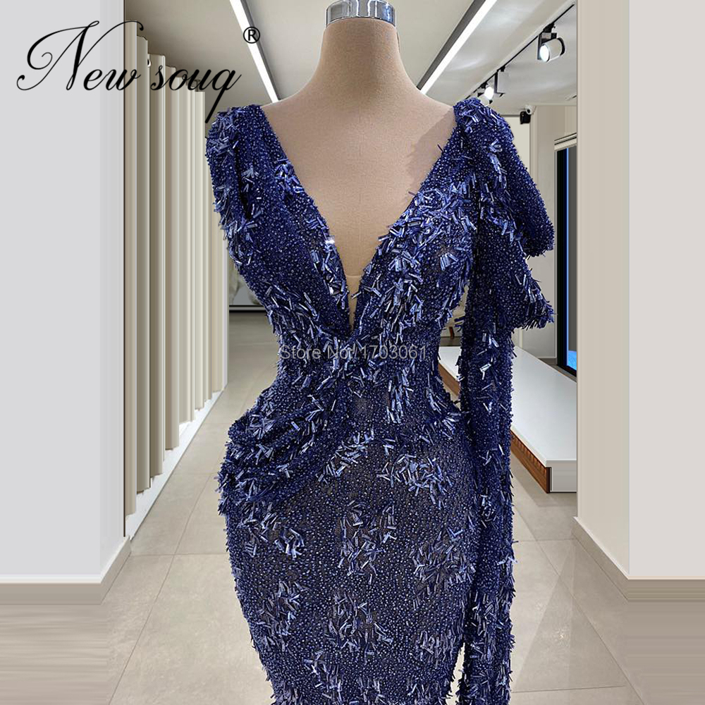Image 2 - Dubai Design Blue Formal Dress Newest Evening Dresses Beaded Middle East Long Mermaid Turkish Pageant Gowns 2020 Robe De SoireeEvening Dresses   -